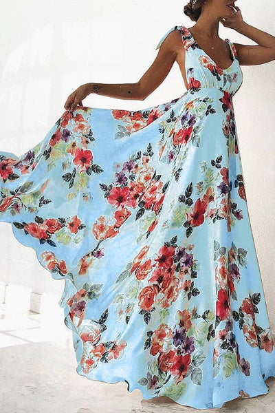 Sexy Sleeveless Floral Print Maxi Dress
