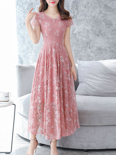 V Neck  Floral Printed Lace Maxi Dress