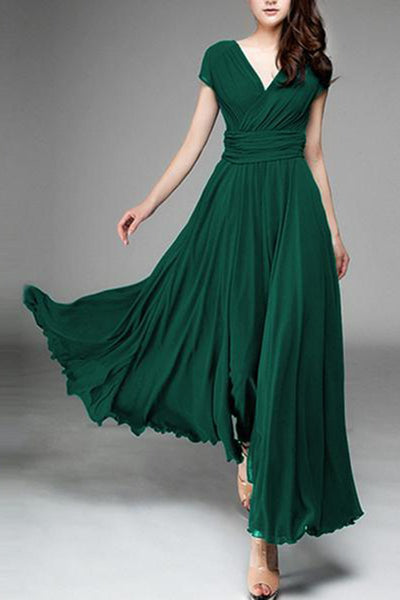 Summer  Short Sleeve  V Neck  Chiffon  Basic Casual Elegant Maxi Dresses