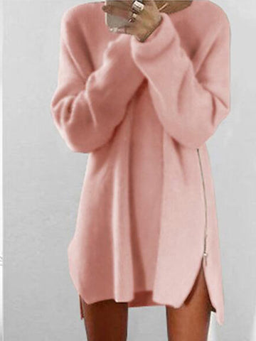 Round Collar Casual Long Sleeve Oversized Long Sleeve Sweater