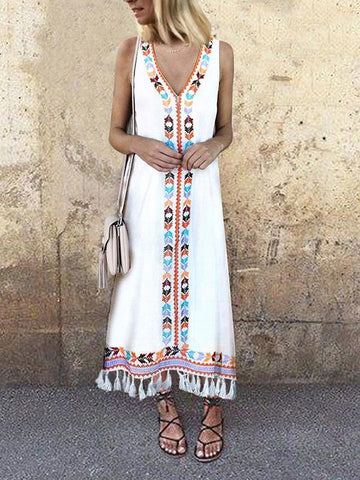 Myladystyle Sexy V Neck Floral Printed Tassel Sleeveless Casual Maxi Dress