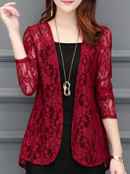See-Through  Floral Plain  Long Sleeve Cardigans