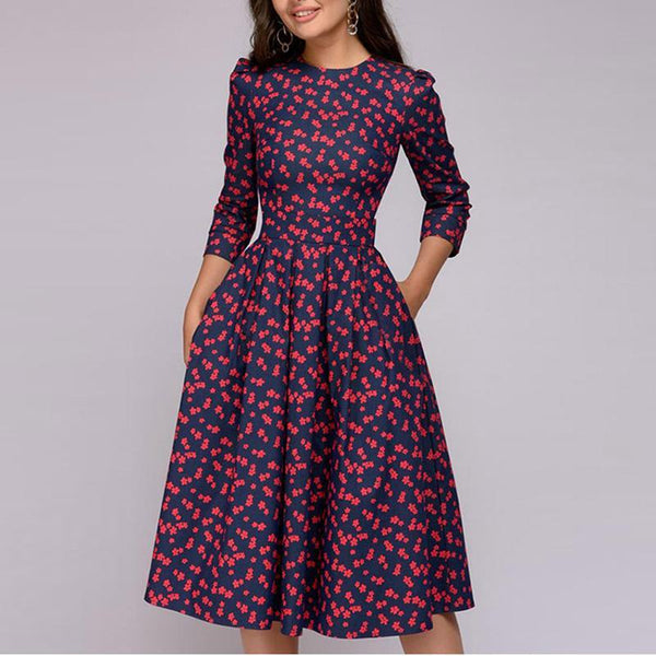 Women's 3/4 Sleeve Floral Printed Cocktail Party Dress