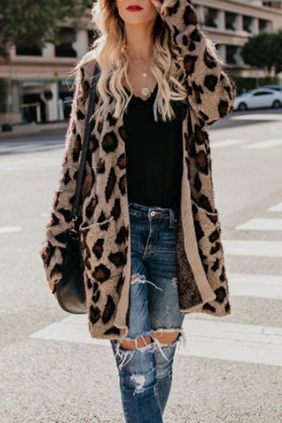 Leopard Print Women Cardigans Casual Collarless Flap Pocket Cardigans