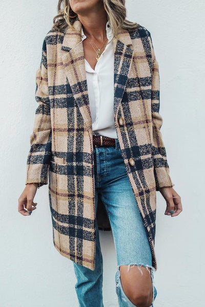 Vintage Lapel Collar Check Button Loose Woolen Long Coat