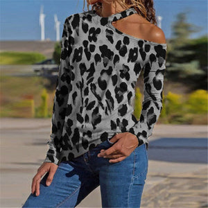 Fashion Leopard Print One Shoulder T-Shirts