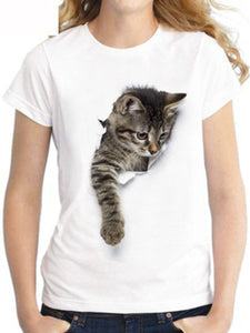 Round Neck Loose Cat Print Short Sleeve T-Shirt