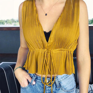 Drawstring Girdle Waist Pure Color V Collar Loose Halter Shirt