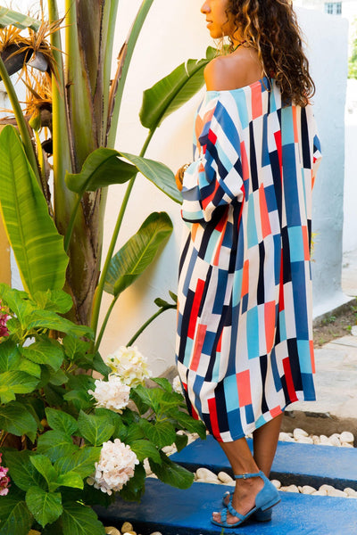 Casual Off The Shoulder Slim Color Stripe Print Dress