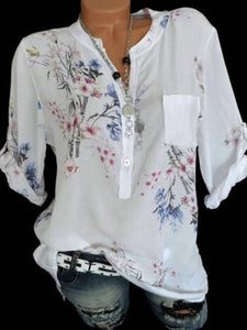 Fashion V Neck Floral Print Blouses