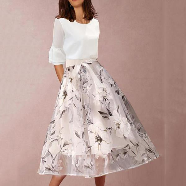 Women's Round Neck Floral Printed Bell Sleeve Two-Piece Skater Dress