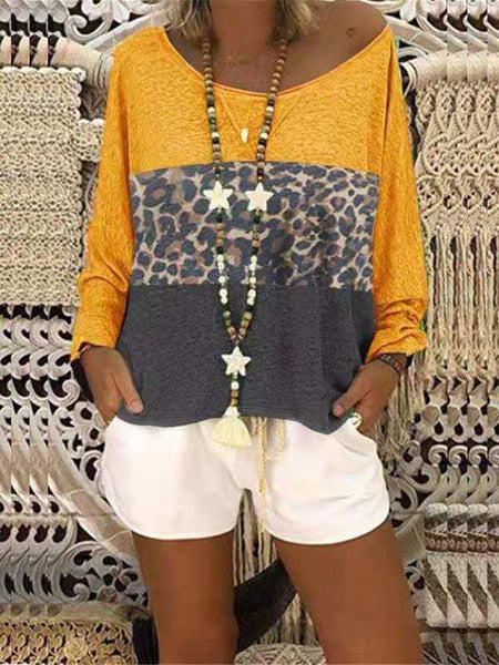 Round Neck Color Block Patchwork Leopard T-Shirts