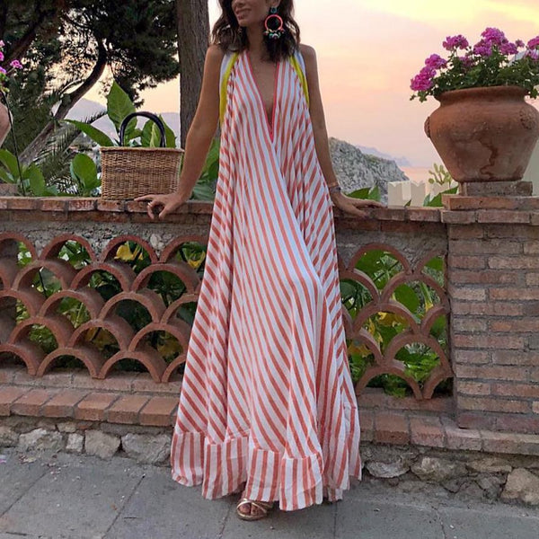 Elegant V Neck Striped Printed Sleeveless Dress