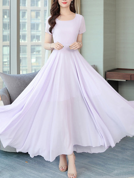 Round Neck Plain Short Sleves Chiffon Maxi Dress