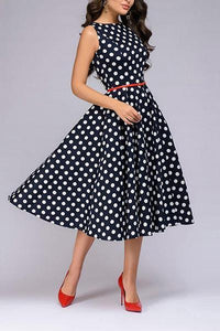 Retro Wave Dot Sleeveless Skater Dress