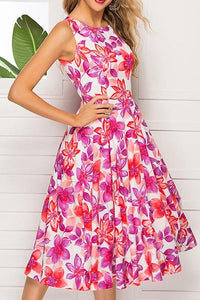 A Sleeveless Print Round Collar Skater Dress
