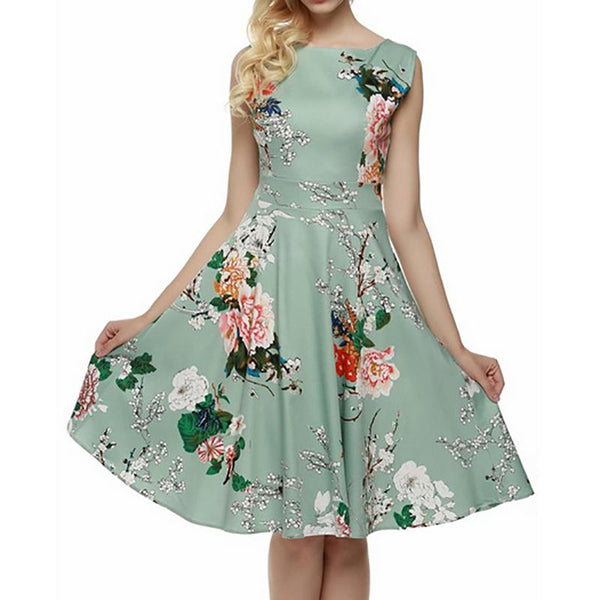 A Sleeveless Print Dress With A Round Collar skater dress