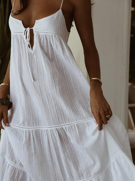 Sexy V Neck Lace Sleeveless Off-Shoulder Belted Casual Dress