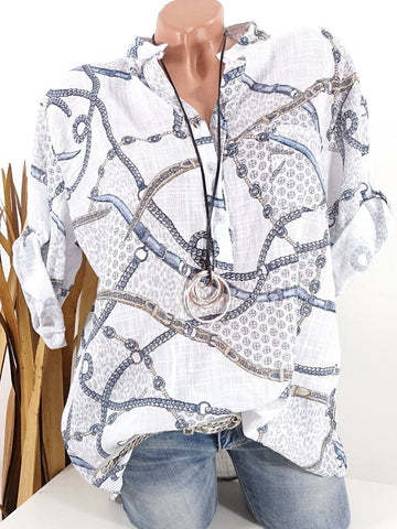 Geometric Printed Pocket Blouses