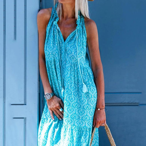 V Neck Kaftan Tribal Blue Date Casual Vacation Cotton-Blend Dress