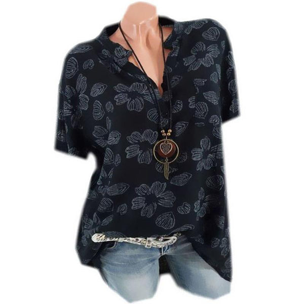 Women's Printed Short-Sleeved Loose Shirts