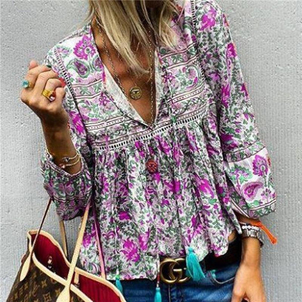 V Neck Printed Colour Tassel Lace Bishop Sleeve Blouse Overpull