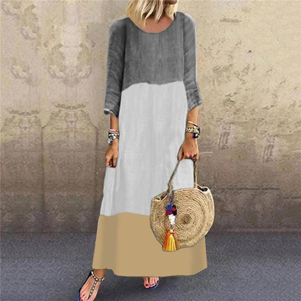 Women's Cotton And Linen Round Neck Stitching Color Dress