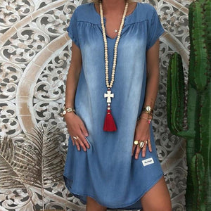 Fashion Causal Denim Short Sleeve Above Knee Dress