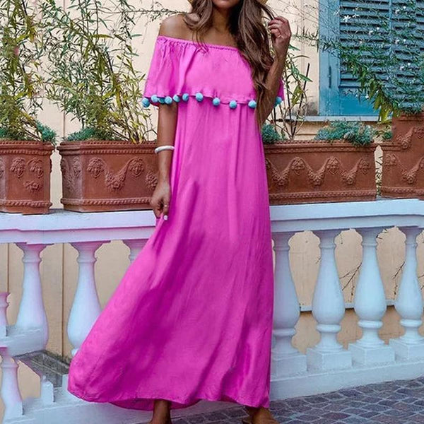 Bohemian Pure Colour Boat Collar Cotton Ball Tassel Long Vacation Casual Maxi Dress