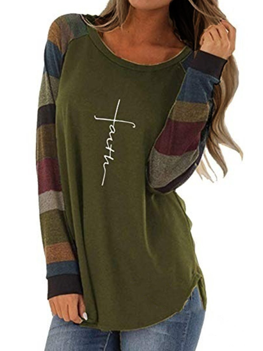 Round  Neck  Patchwork  Casual  Color Block Letters  Long Sleeve Shirts