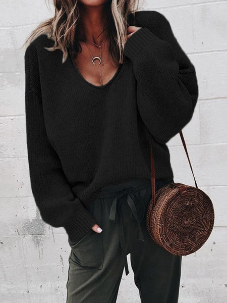 Casual Ladies Sweater V-Neck Long-Sleeved Solid Color Loose Sweater Bottoming Shirt