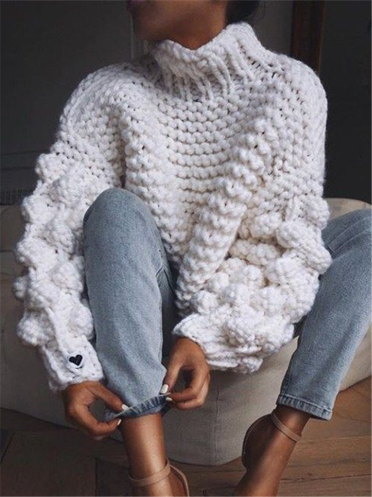 Fashion High Neck Coarse Wool Knit Sweater