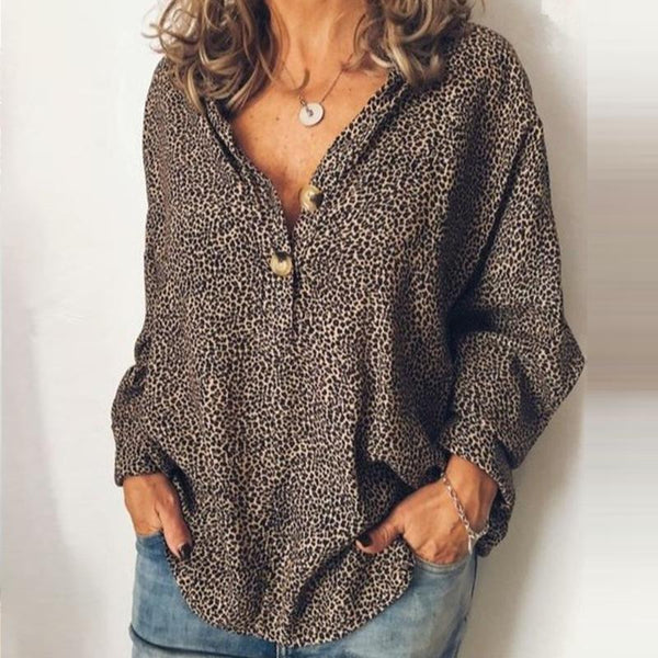 Fashion Casual V Neck Long Sleeves Leopard Blouse