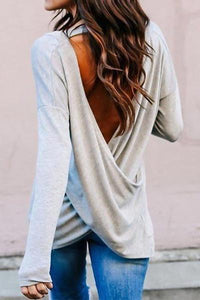 V Neck Backless Plain Shirts
