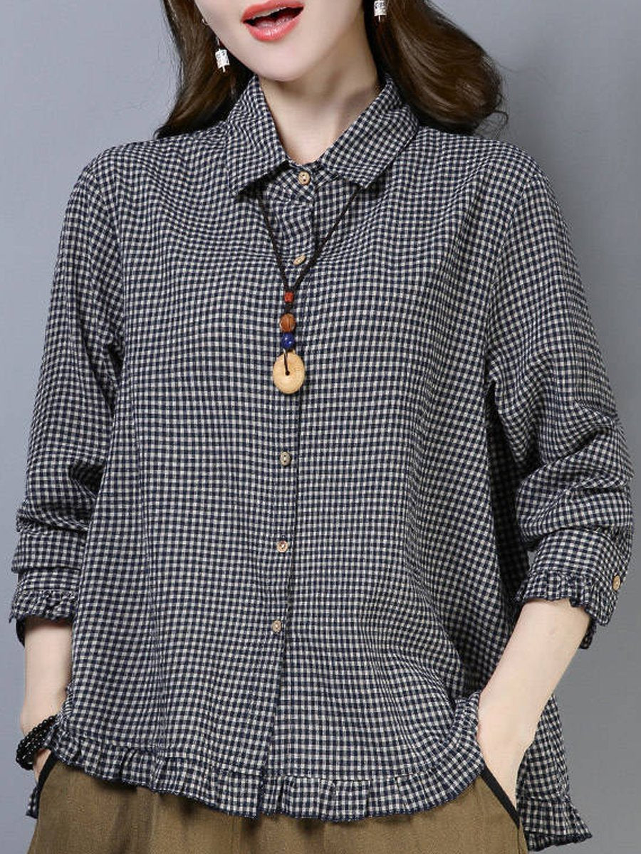 A Lapel  Patchwork  Casual  Plaid  Long Sleeve  Blouse