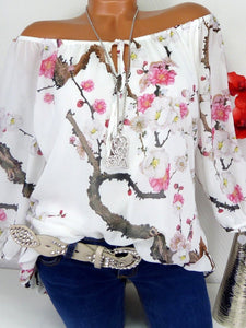Flower Printed Off The Shoulder Chiffon Shirt