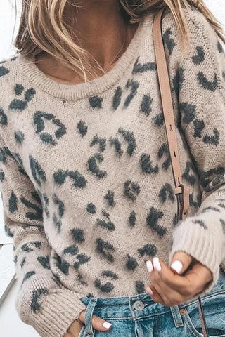 Leopard Print Women Sweaters Casual Round Neck Knitted Sweaters