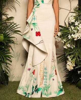 Fashion Fluted Cotton Sateen Floral Maxi Dress