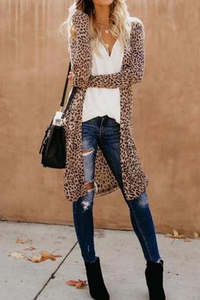 Leopard Print Women Casual Plus Size Outerwear