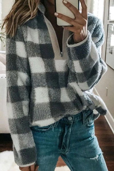 Band Collar  Zipper  Gingham Sweaters