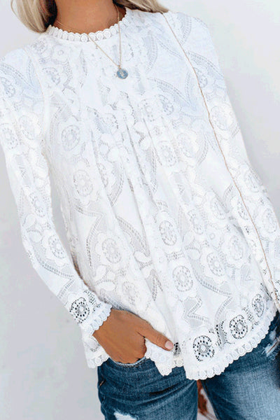 Lace Round neck Stitching Solid Color Long-Sleeved Shirt