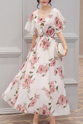 Round Neck  Floral  Bell Sleeve Maxi Dress