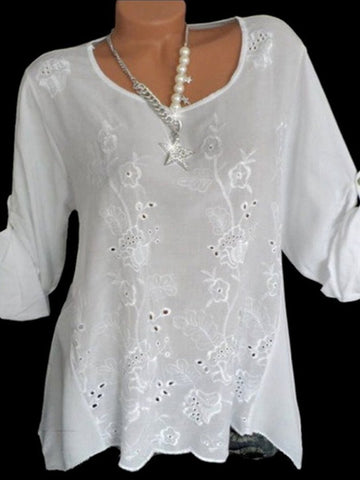 Round Neck  Embroidered Loose Blouses