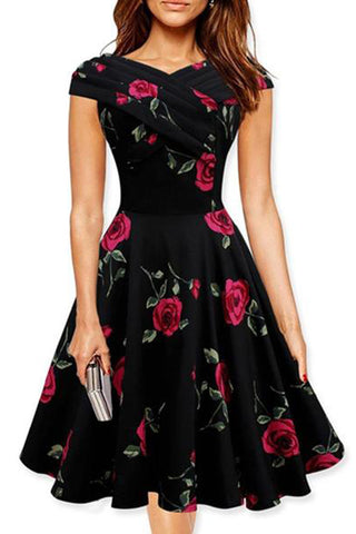 Women's Surplice Floral Printed Short Sleeves Skater Dress