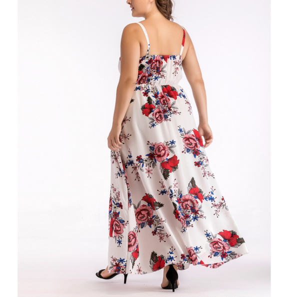 Plus-size sexy printing sling dress
