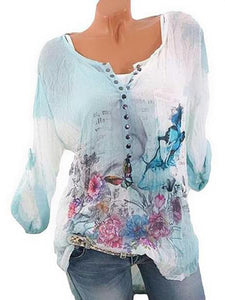 Long Sleeve Printed Round Neck Chiffon Shirt