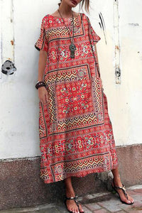 Myladystyle Boat Neck Cotton/Linen Printed Ethnic Style Short Sleeve Loose Vacation Maxi Dress