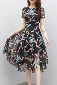 Round Neck  Asymmetric Hem  Floral Skater Dress