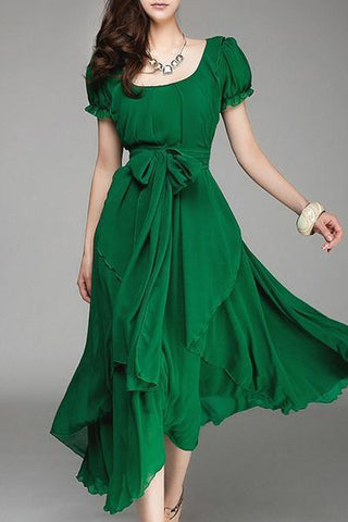 Square Neck  Asymmetric Hem  Belt  Plain  Puff Sleeve Maxi Dresses