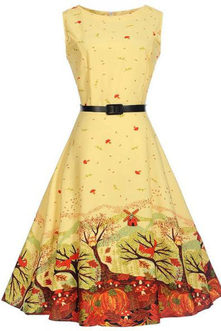 Lovely Printed Round Neck Belt Midi Skater Dress